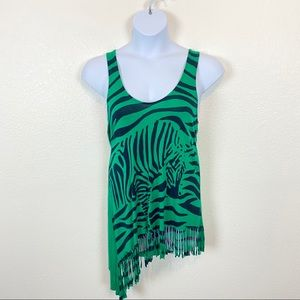 T-Bags Zip Back Zebra Tank Top With Fringe Size S